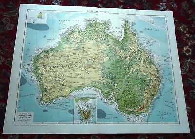 Large VICTORY Map ~AUSTRALIA Physical~ Alexander Gross & Geographical 1919/1920