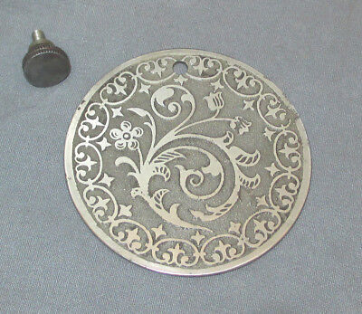 Antique Floral Singer 15-30 27 127 Sewing Machine Round Rear Cover Plate Screw