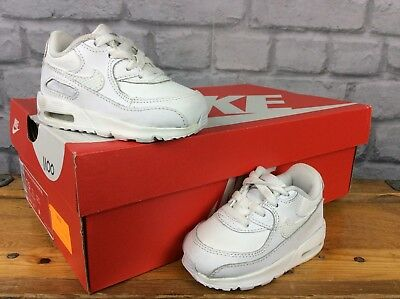 premium selection 68a44 4c78d Nike Air Max 90 Uk 4.5 Infant White Leather Trainers Boys Girls Childrens