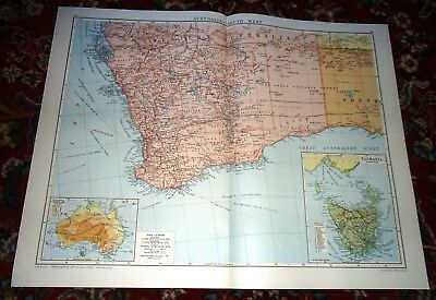Large VICTORY Map ~ SOUTH WEST AUSTRALIA ~ Alexander Gross Geographical 1919/20