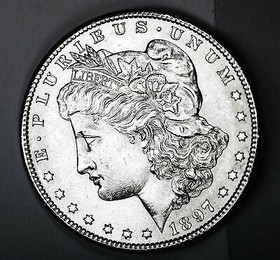 1897-s Morgan Silver Dollar. Full Chest Feathers. BU   (INV-A)