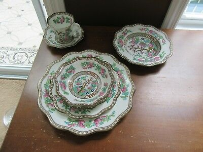 1 - Coalport Indian Tree Multicolored 7 pc Place Setting - Dinner Plate Bowls