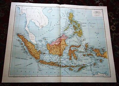 Large VICTORY Map ~ EAST INDIES ~ Alexander Gross Geographical 1919/20