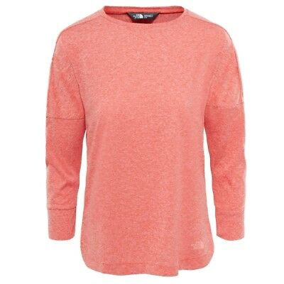 The North Face W Inlux 3/4 Sleeve Top fire brick red heather Shirt Damen