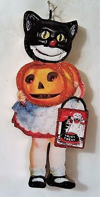 BLACK CAT GIRL w/ JOL PUMPKIN, TREAT BAG  * Glitter HALLOWEEN ORNAMENT * Vtg Img