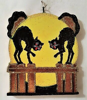 2 BLACK CATS on FENCE, FULL MOON  * Glitter HALLOWEEN ORNAMENT * Vtg Img