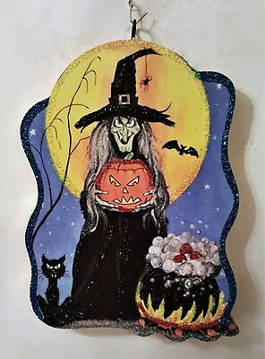 WITCH w BUBBLING CAULDRON, CAT, JOL, MOON * Glitter HALLOWEEN ORNAMENT * Vtg Img