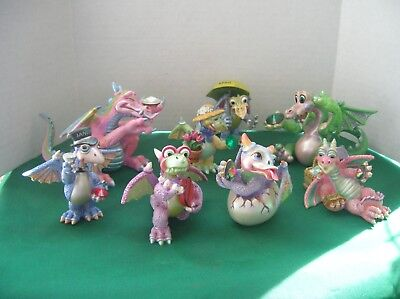 MOOD DRAGONS Franklin Mint Dragon Figurines Lot of 8 Collectible