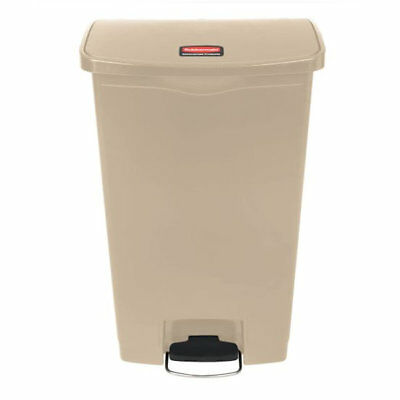 Rubbermaid 1883460 Slim Jim Resin Front Step-On Trash Can in Beige - 18 Gallon