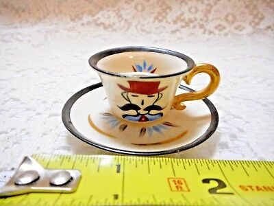Vintage Rose Crown Miniature Mustache Cup Gentleman with Handlebar~~~Minty~~~