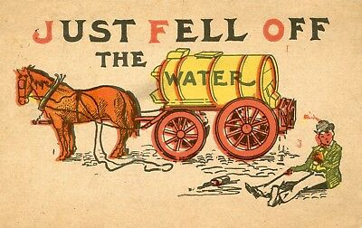 """Vintage 1907 drunk driving postcard """"Just fell off the Water"""", Man, Horse, Wagon"""