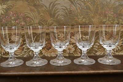 """LALIQUE FRANCE """" WEIN-GLÄSER, VALENCAY """" CLEAR & FROSTED """" 5 Stück je 11,2cm TOP"""