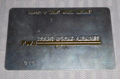 Rare Vintage TWA Trans World Airlines System Metal Ticket Validation Plate 015