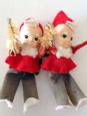 Vintage Christmas Package Decorations -   2  Elves w/ Christmas Trees