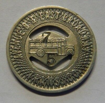 Manhattan Ny 1934 Transit Token 630Ab Avenue B & East Broadway Trans Co