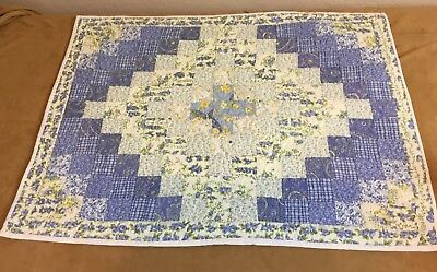 Patchwork Quilt Wall Hanging, Trip Around The World, Floral Calicos, Blue, White