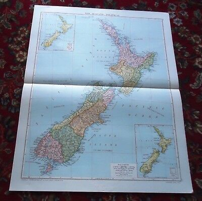 Large VICTORY Map ~ NEW ZEALAND Political ~ Alexander Gross Geographical 1919/20