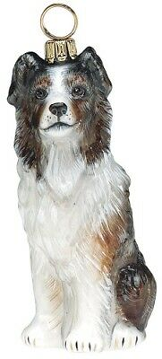 Australian Shepard Dog Polish Blown Glass Christmas Ornament Decoration
