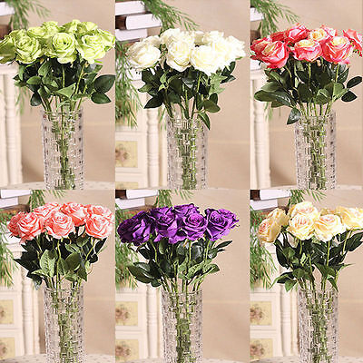 KQ_ Home Rose Craft Centerpiece Silk Flowers Decor Party Wedding Bridal Gift Ple
