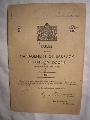 British Army Cold War Manual Barrack Room Detention 1951 Military Law