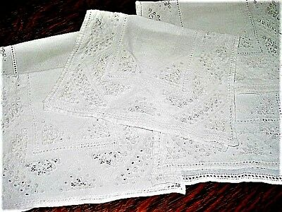 Vtg.Linen Placemats ItalianCutwork,Emb.DrwnThread,Hemstitched 1930'sItemsEx.Cond