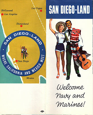 San Diego California & Mexico Vintage Brochure Color Photos Map San Diego-Land