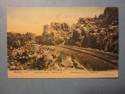 Old Vintage 1908 PRESCOTT ARIZONA - POSTCARD - Granite Dells - TRAIN / Railroad