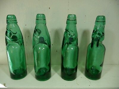 lot of 4 Codd Neck Marble Bottle - Very good shape! Green / Teal color