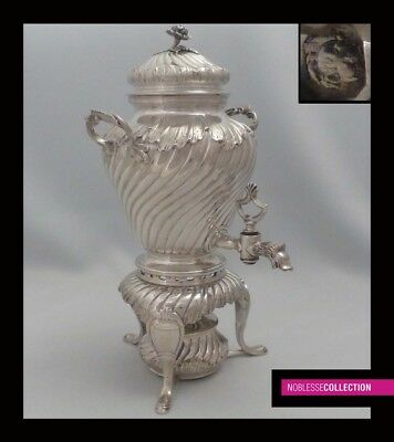 LUXURIOUS ANTIQUE 1890s FRENCH STERLING SILVER SAMOVAR/TEA URN Rococo style