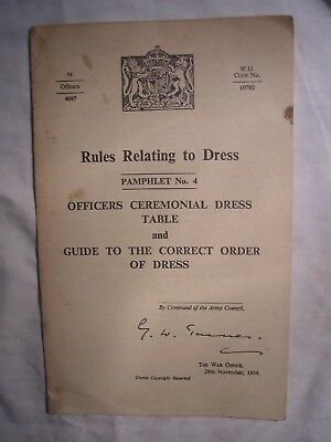 British Army Dress Rules Officers Ceremonial Military Uniform History 1954