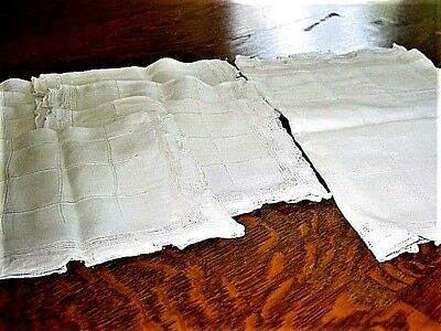 "Vtg.Linen Placemats 7pc White.DrawnThread10x16"",Hemstitched 1930's Items Ex.Cond"
