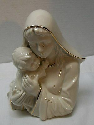 Virgin Mary Child Jesus Madonna and Child Fine Porcelain Mikasa Gold Accents 8""