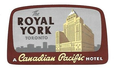 Authentic Vintage Luggage Label ~ THE ROYAL YORK ~ Toronto, Canadian Pacific