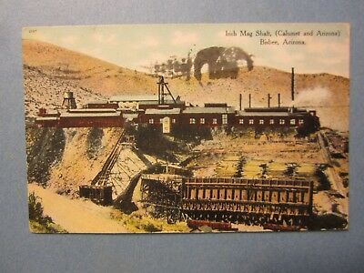 Old Vintage 1910 BISBEE ARIZONA POSTCARD - Irish Mag Shaft Calumet Arizona MINE