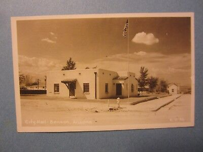 Old Vintage 1953 - BENSON ARIZONA - RPPC Real Photo POSTCARD - City Hall