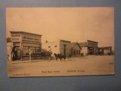 Old Vintage 1910 - BENSON ARIZONA - POSTCARD - West Main Street - Corner Store