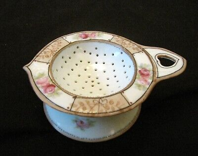 ANTIQUE NIPPON TEA STRAINER w/ DRIP BOWL - ROSES w/ GOLD PAINT & RAISED BEADING