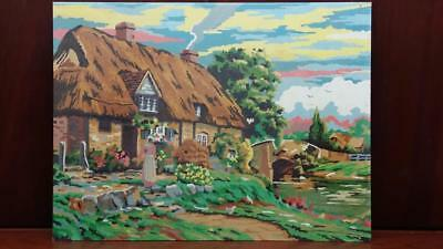 """Vintage 60's Cottage Garden Painting - PBN - Paint By Number, 12"""" x 16"""" Unframed"""