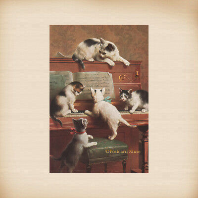 Five Kittens With A Piano New 4x6 Vintage Postcard Image Photo Print FN41