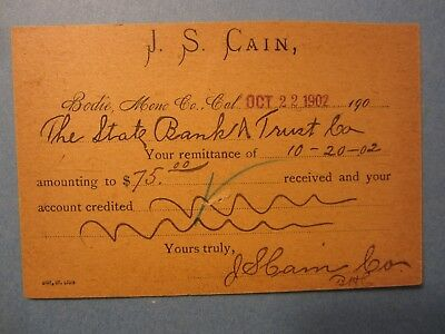 Old 1902 BODIE - Mono County - CA.- J.S. Cain - Bank Deposit CARD
