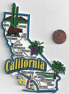 California  Ca  State  Map  Jumbo Magnet   7 Color - Sacramento   San Diego