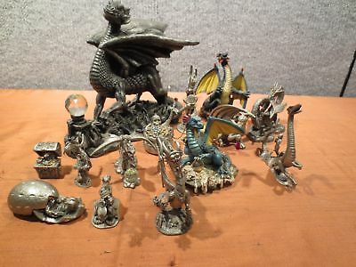 USED Lot Of 14 Dragons And Treasure Pewter And Plastic Composite Figurines(450)