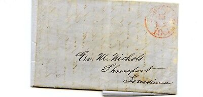 USA Stampless Cover 1847 New York>Shreveport LA Prices of Tobacco Cotton skins