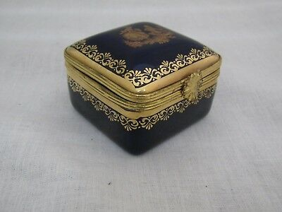 Limoges France Cobalt Gold Square Trinket Box