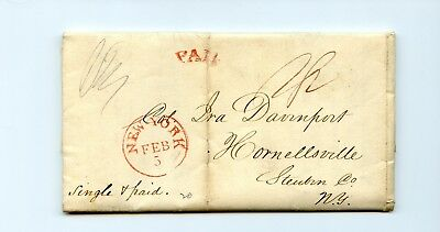 USA Stampless Cover 1839 New York>Hornellsville Year Balance Sheet Tobacco