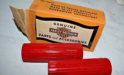 Vintage Harley Davidson Motorcycle Handle Bar Grips Covers w/ Box Red Rubber