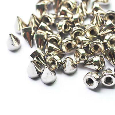 KQ_ Set 100pcs 9.5mm Punk Silver Cone Spikes Screwback Studs DIY Rivets Accessor