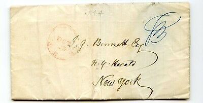 USA Stampless Cover 1844 Providence RI>NY Famous Fire destoys Science Apparatus