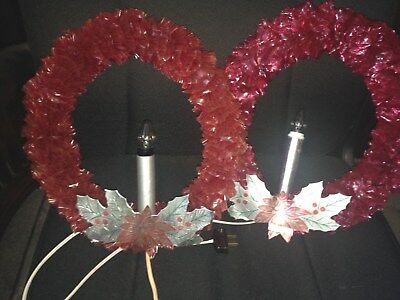 Lot of 2 vintage 1940's electric cellophanic & foil lighted Christmas wreaths