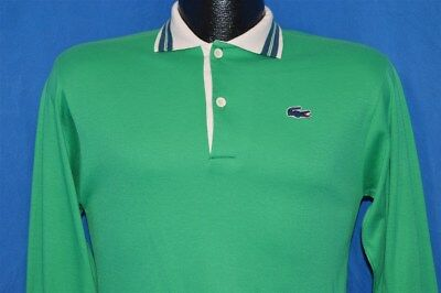 vtg 80s IZOD LACOSTE LONG SLEEVE GREEN BLUE GATOR RUGBY POLO SHIRT 20 YOUTH XL